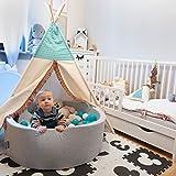 KiddyMoon Bällebad 90X30cm/300 Bälle ∅ 7Cm Bällepool Mit Bunten Bällen Für Babys Kinder Rund, Hellgrau: Grau/Weiß/Türkis - 4