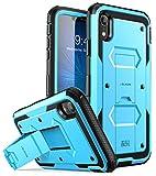 i-Blason iPhone XR Hülle Outdoor Handyhülle 360 Grad Case Schutzhülle Cover [Armorbox] mit Ständer und Integriertem Displayschutz für iPhone XR 6.1 Zoll, Blau