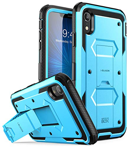 """i-Blason Armorbox Series Case Designed for iPhone XR 2018 Release, [Built in Screen Protector] Full Body Heavy Duty Protection Kickstand Shock Reduction Case, Blue, 6.1"""""""