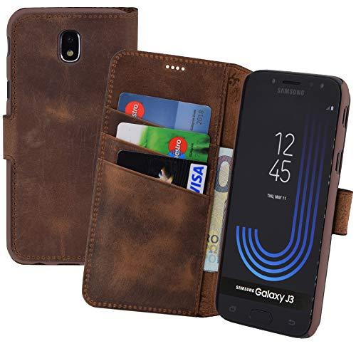 Suncase Book-Style (Slim-Fit) voor Samsung Galaxy J3 2017 leren tasje leren tasje mobiele telefoon beschermhoes case hoes (met standaardfunctie en kaartenvak), Antiek koffie