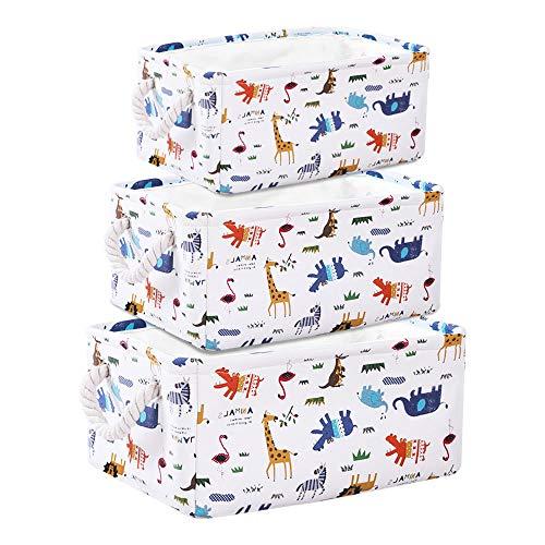 Cesta de Almacenamiento de Lona con Animales Encantador: Cesta de Tela de 3 Piezas con Asas de Cuerda Almacenamiento Doméstico, Juguetes o Lavandería.