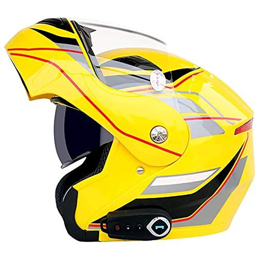 Casco de motocicleta modular con Bluetooth, antiniebla, visera doble, cara completa, abatible hacia arriba, casco de locomotora para motocicleta, altavoz incorporado, micrófono para auriculares