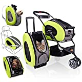5-in-1 Pet Carrier with Backpack, Pet Carrier Stroller, Shoulder Strap, Carriers with Wheels for Dogs and Cats - Green