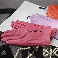 冬の暖かい手袋 エレガントな女性手袋純正レザー冬のプラスベルベットトレンディな女性ショートグローブ27色 (Color : Watermelon red, Gloves Size : XXL)