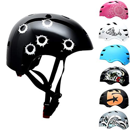 Skullcap BMX Helm - Skaterhelm - Fahrradhelm - Herren Damen Jungs & Kinderhelm, schwarz, Gr. S (53 - 55 cm), Bullets