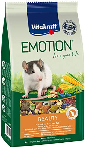 Vitakraft helfoder för råttor, grönsaker, dadlar och nötter, TriVita-Complex, Emotion Beauty Selection All Ages, 5-pack