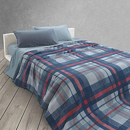 Colcha Scott de Panamá de algodón para cama individual de 1 plaza (azul marino)