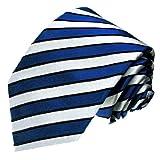 LORENZO CANA - Krawatte 100% Seide - Handgefertigte Seidenkrawatte - blau weiß silber schwarz gestreift Streifen - 77070