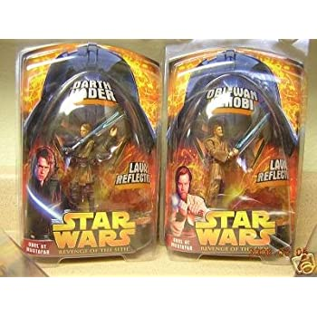 Amazon Com Star Wars Target Exclusive Anakin Darth Vader And Obi Wan Duel At Mustafar Lava Revenge Of The Sith Set Of Figures Toys Games