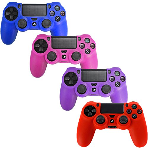 of hde charge controllers HDE Controller Skins for PS4 Controller 4 Pack Combo Silicone Rubber Protective Grip for Sony PS4 Wireless Game Controllers (Blue, Red, Purple, Pink)