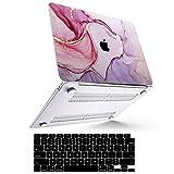 B BELK Funda para MacBook Air 2020 (Modelo: A2337 M1 A2179 A1932), Efecto 3D Funda para MacBook Air de 13,3 Pulgadas 2019 2018 con Touch ID + 2 Cubiertas de Teclado Negras, Mármol Morado