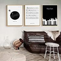 """キャンバス絵画ブラックホワイトピアノレコード音符ポスターとプリント壁アート写真北欧の家の装飾15.7"""" x23.6""""(40x60cm)x3フレームなし"""