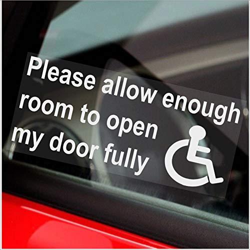 Bitte ausreichend Platz zu öffnen Meine Tür Fully-Window Aufkleber für Auto, Van, Truck, Fahrzeug. Behinderte, Behinderung, Mobilität, Leave-self Selbstklebendem Vinyl Schild Behinderte Logo