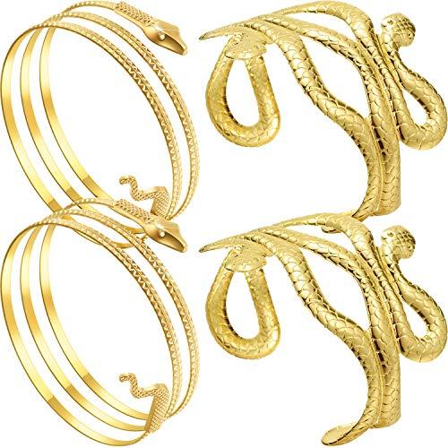 4 Stücke Metall Schlange Arm Armband Manschette Armreif Wirbelschlange Armreif Oberarm Manschette Ägyptischen Kostüm Zubehör für Frauen