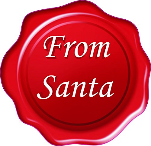 60'from Santa' 3D Wax Seal Effect Flat Vinyl Stickers. 27mm White On Red Card Present and Gift Seal