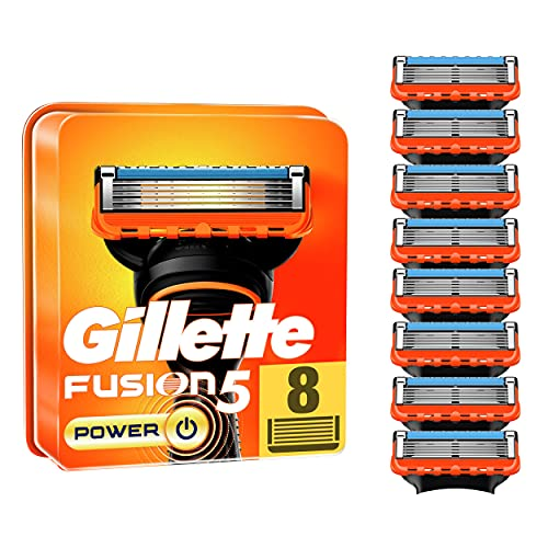 Gillette Fusion 5 Power Rasierklingen für Männer, 8 Stück, entwickelt mit Anti-Irritations-Klingen, für bis zu 20 Rasuren pro Klinge