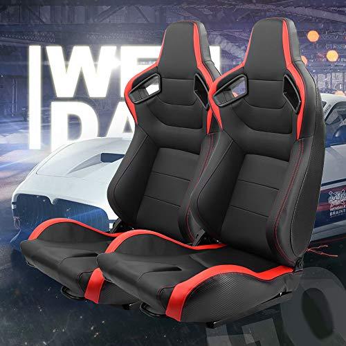 KAIRAY 2 Stück Set Sports Style Rennsitze PVC Leder Verstellbarer Schalensitz Sportsitz Autositz (rot + schwarz)