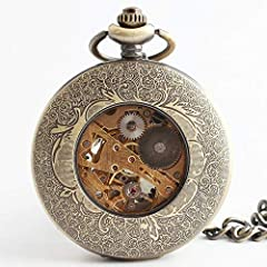 "Avaner Steampunk Retro Half Hunter Copper Gear Skeleton Hand Wind Mechanical Roman/Arabic Numeral Analog Display Pocket Watch with 14""Chain (Brown) #4"