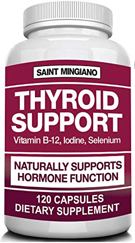Thyroid Support Supplement with Iodine |120 Capsules, Helps Optimal Weight Loss & Cardiovascular Health, Boosts Energy & Metabolism | Mentally Sharp & Physically Strong | 14 Natural Vitamins