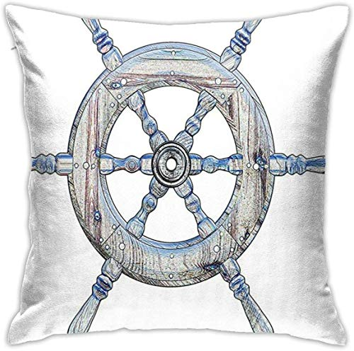 Nautical Decor Illustration of A Wooden Ship Wheel Over White Backdrop Sailing Exploring Ocean Theme Blue White Throw Pillow Covers 18inch*18inch,Pillowcase Decorative - No Inserts Included
