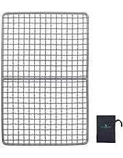 ファイアグリル用焼き網 (火格子)チタン網 バーベキュー 鉄板 焼き網 グリル マット アウトドア BBQ キャンプ クッキング用 持ち運び便利 250x110mm