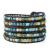 KELITCH Charme Armbänder Frau Männer Bunt Gelb Blau Grün Achat Und Blau Türkis Stein Perlen 5 Wickeln Armband Auf Dunkel Braun Leder