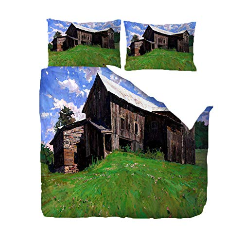 Printed Duvet Cover Set - King Size (94.5x86.6 inch) - Wooden House On The Mountain,3D Polyester Printed Bedding Duvet Cover with Zipper,3 pcs Soft Microfiber Quilt Cover Set