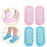 Moisturizing Socks, Gel Socks Soft Moisturizing Gel Socks, Gel Spa Socks For Repairing and Softening Dry Cracked Feet Skins, Gel Lining Infused with Essential Oils and Vitamins (Blue & Pink)