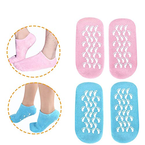 Moisturizing Socks, Gel Socks Soft Moisturizing Gel Socks, Gel Spa Socks For Repairing and Softening Dry Cracked Feet Skins, Gel Lining Infused with Essential Oils and Vitamins (Blue & Pink)
