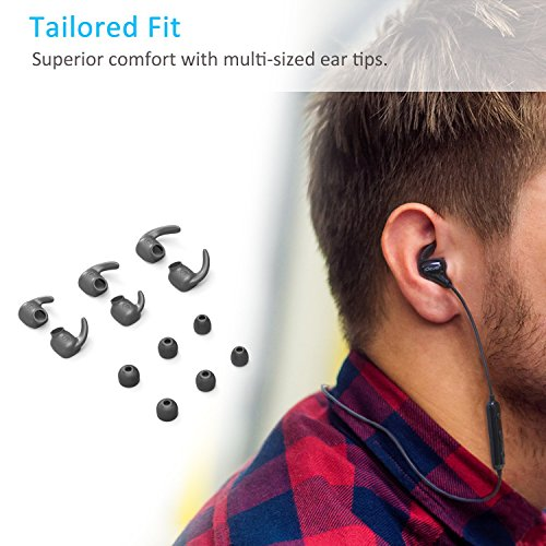 iClever Bluetooth Headphones, Lightweight Wireless Earphones with Built-in Mic, Noise Cancelling, Nano-coating Waterproof, 8-Hour Playtime, Wireless Earbuds for Gym Workout Running – Black