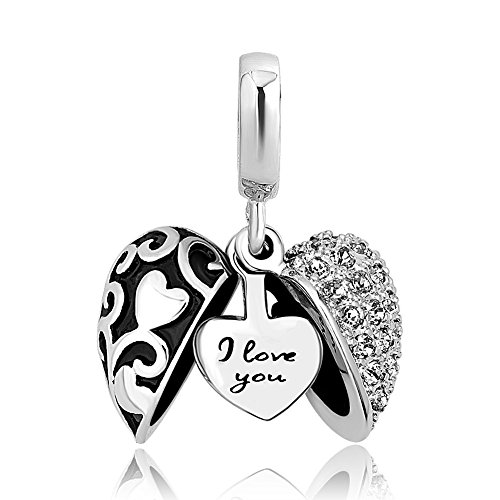 LovelyJewelry I Love You Charms Heart Charms Dangle Beads for Bracelets For Girlfriend (White)