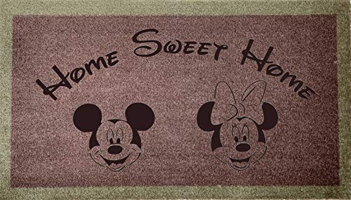 Alfombra para puerta grabada Disney Range 40 cm x 70 cm Interior Home Sweet Home Mickey & MinNIE (tostadas)