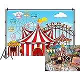 YongFoto 7x5ft Cartoon Children Amusement Park Backdrop Circus Tent Photography Background Ticket Ferris Wheel Carousel Roller Coaster Kids Boy Girl 1st Birthday Party Banner Portrait Studio Props