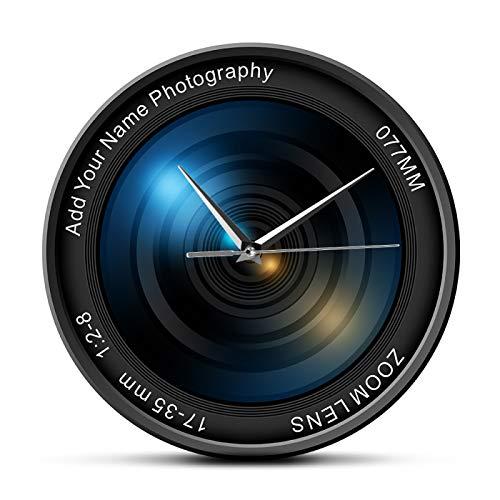 Reloj de pared Lente de la cámara Reloj de pared Fotografía Imágenes Zoom Color Foto ISO Exposición Snap Selfie Personalizado Decorativo Moderno Reloj de Pared