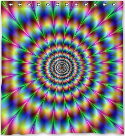 DREAMOO Abstrakte Trippy Psychedelic Wasserdicht Polyester Bad Duschvorhang, Decor, Textil, Multi, 71x72