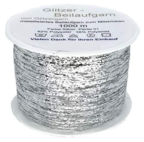 Glitzer-Beilaufgarn auf 1000 Meter Spulen in der Farbe Silber