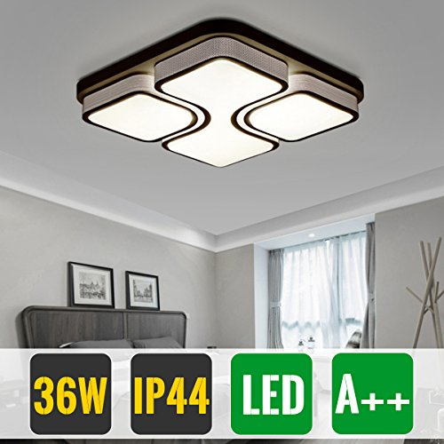 HG® LED Lámpara de techo Regulable Lamparas de pasillo Marco Negro Diseño Lampara salon Iluminación de Pared 48W Blanco cálido(2700K-3200K)