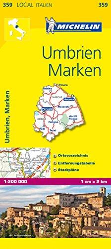 Michelin Umbrien und Marken: Straßen- und Tourismuskarte (MICHELIN Localkarten)