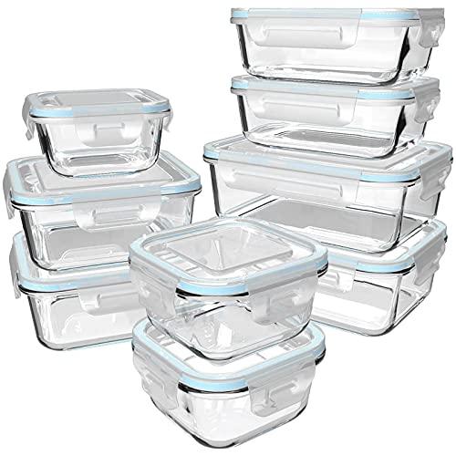 GENICOOK Frischhaltedose aus Glas/Glasbehälter mit Deckel/Vorratsdosen/Glasschüssel/Aufbewahrungsbehälter/Lebensmittelbehälter - Geschirr für mikrowelle LFGB zugelassen für Home Küche(9er-Set)