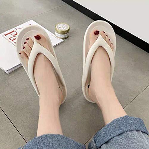 Sandalias Deslizantes Unisex,Zapatos de Playa de Vacaciones Simples y Combinados para Mujer, Sandalias y Zapatillas de Plataforma de Gran tamaño para Hombres-White_39-40,Chanclas para Hombre