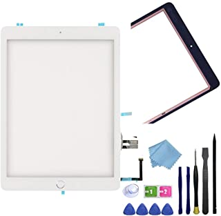 FeiyueTech White iPad 6th Gen 2018 A1893 A1954 Touch Screen Digitizer Replacement Front Glass Assembly -Includes Home Button+Camera Holder+PreInstalled Adhesive + Tools kit