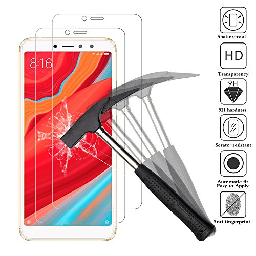 ANEWSIR [2 Pack Tempered Glass for Xiaomi Redmi s2, Premium Protective Film Tempered Glass Protect for Xiaomi Redmi s2 Resistant with 9H Hardness Anti-Bubble High Definition.