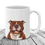 N\A Sonriente Nariz roja Pit Bull Perro Taza de Bebida de café Cachorro Retrato Completo Ideal para dueños de Mascotas 8AV1LY