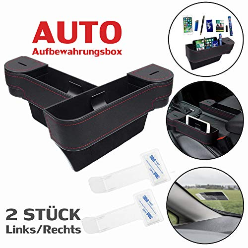 Multifunktionale Aufbewahrungsbox für Auto + 2 Stück Parkscheinhalter | Premium PU Leder Autositz Seitentaschen Organizer Mit Abnehmbarem Münzsammler | für Zusätzliche Lagerung | Schwarz (ein Paar)