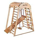 RINAGYM Kletterdreieck - Indoor-Spielplatz aus Holz für Kinder - Kletternetz, schwedische Leiter,...