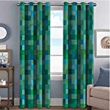 Annery Teal 85%-95% Blackout Lining Curtain Cube Pattern Vibrant Color Full Shading Treatment Kitchen Insulation Curtain W96 x L96 Inch