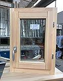 Ventana de 50 x 70 cm de altura de madera laminada en bruto lijada – batiente – Doble cristal – Asa