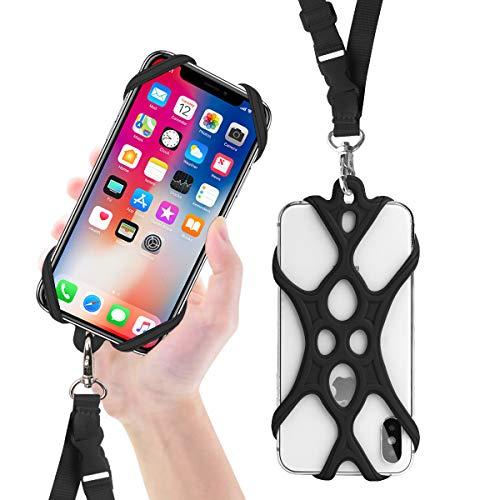 ROCONTRIP Handy Smartphone Telefon Lanyard Strap, Universal Fall Abdeckung Halter Lanyard Halskette Handschlaufe mit ID Card Slot für iPhone X 8 7 6 S 6 Plus Galaxy S7 S6 Huawei P10 P9 (Neu Schwarz)