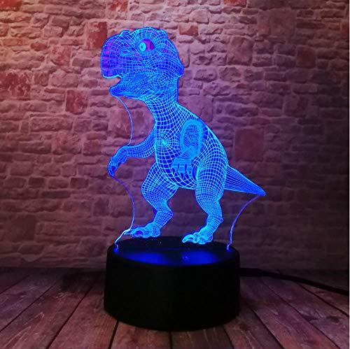 Nachttischlampen für Kinder Neue Einzigartige Tyrannosaurus Rex Dinosaurier Drache 3D 7 Farbwechsel Visuelle Nachtlicht Jungen Kind Mann Schlaf Urlaub Freund Gif