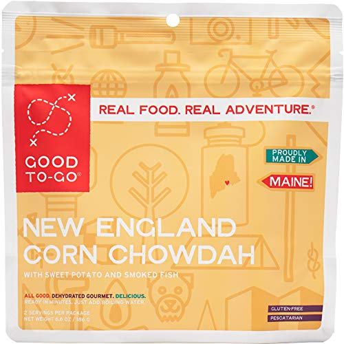 GOOD TO-GO New England Corn Chowdah - Double Serving | Dehydrated Backpacking and Camping Food | Lightweight | Easy to Prepare